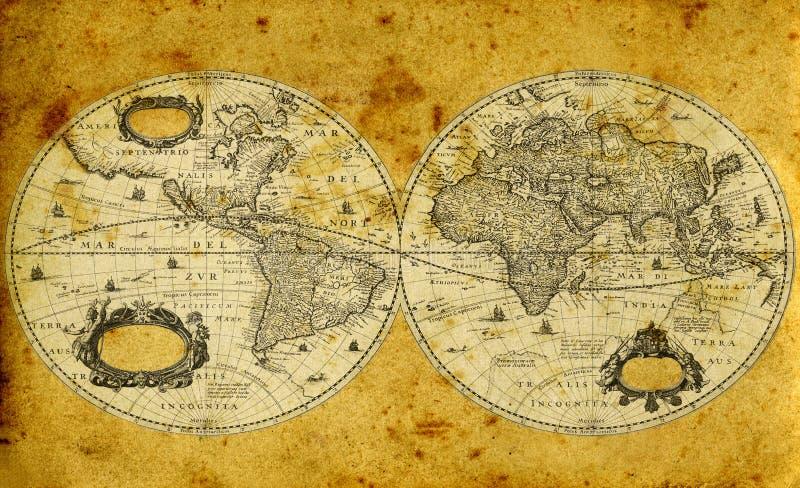 Old paper world map vector illustration