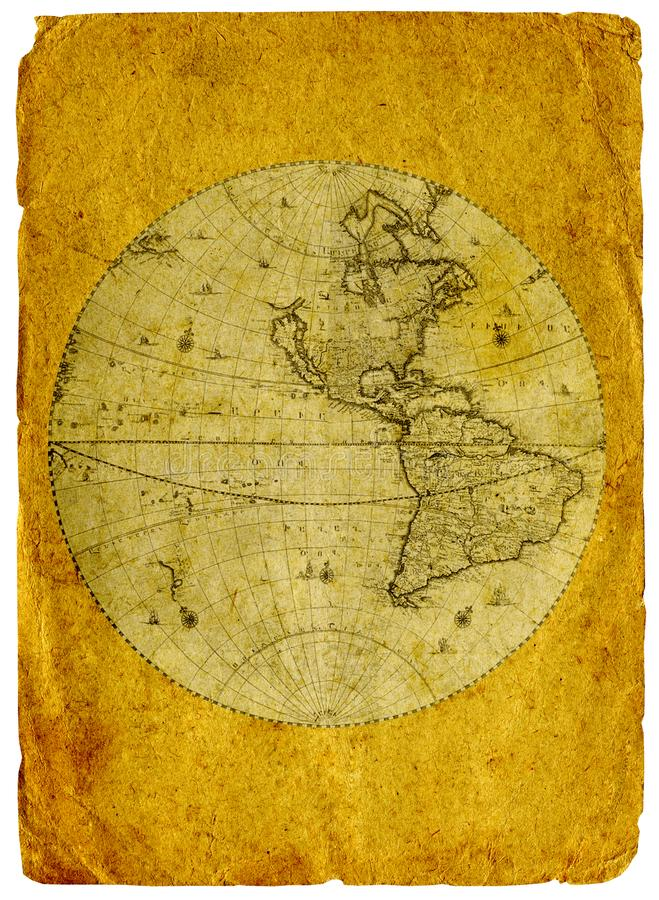 Old paper world map. royalty free illustration