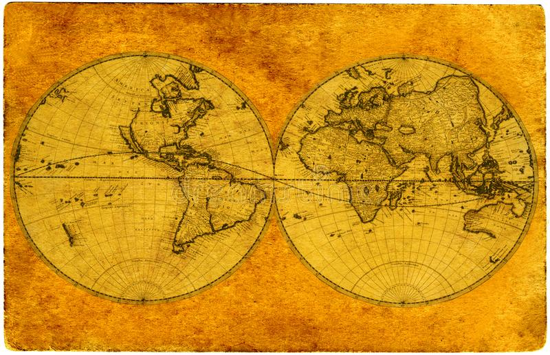 Old paper world map royalty free illustration