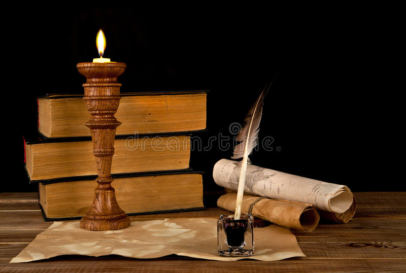 Old papers and books stock image