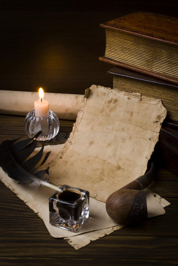 Old papers and books royalty free stock photo