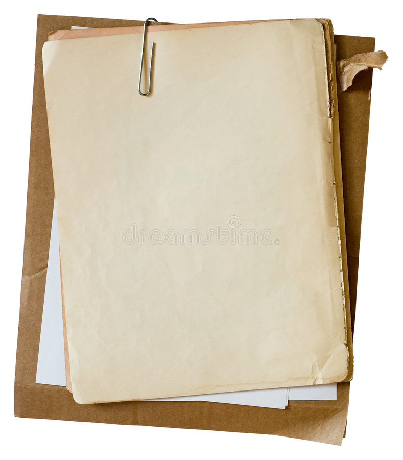 Download Old papers with paperclip stock image. Image of frame - 8339307