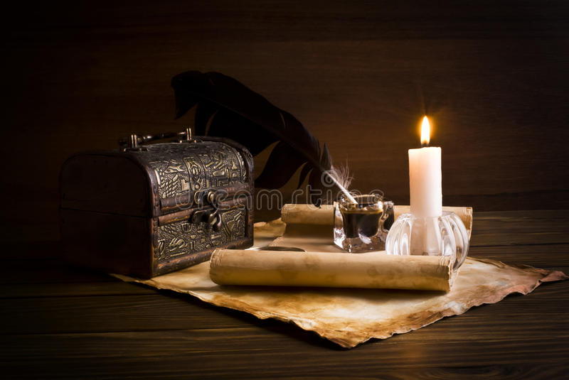 Old papers on a wooden table royalty free stock photo