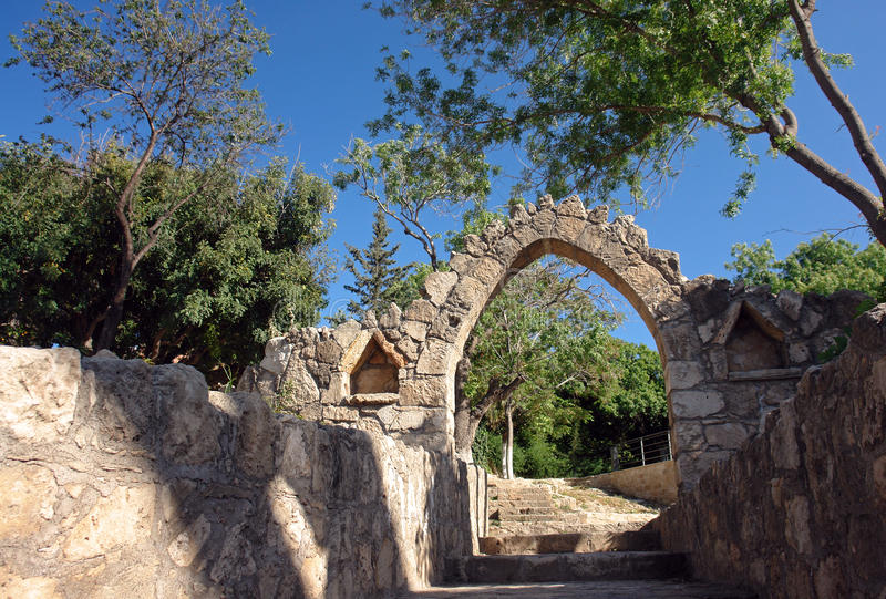 Old paphos in cyprus island stock photography