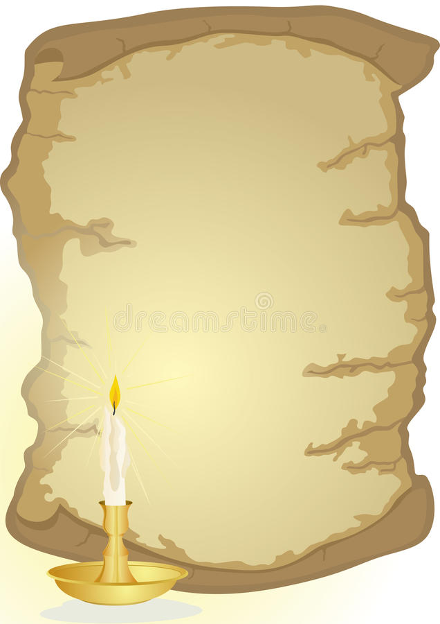 Old parchment and candle stock illustration