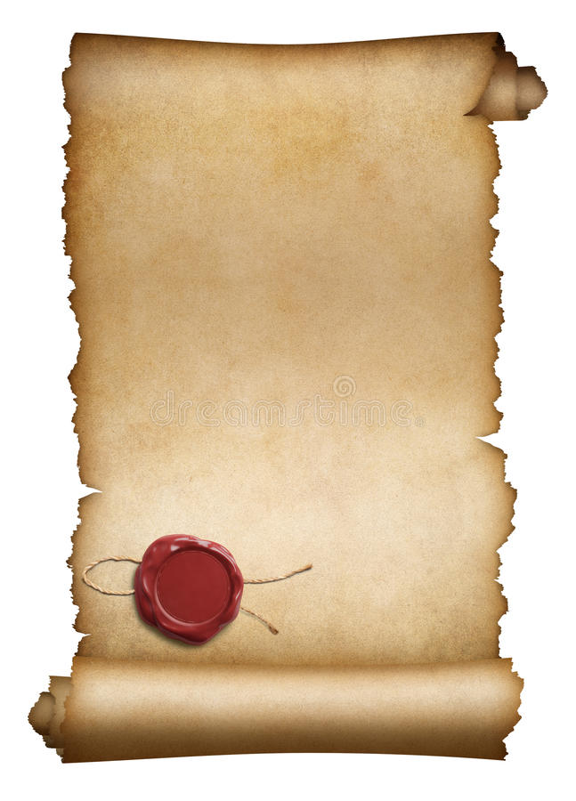 Old parchment or manuscript with red wax seal royalty free stock image