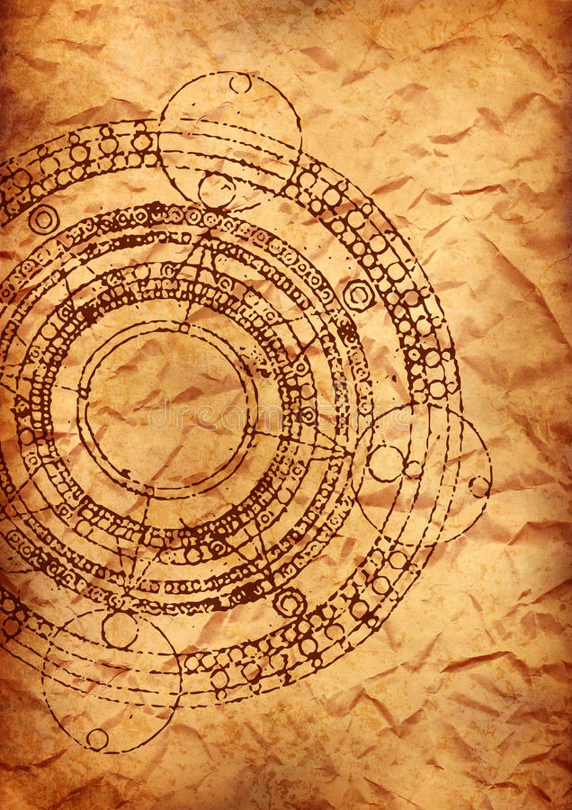 Old parchment with maya calendar. Old crumpled parchment sheet with maya calendar vector illustration