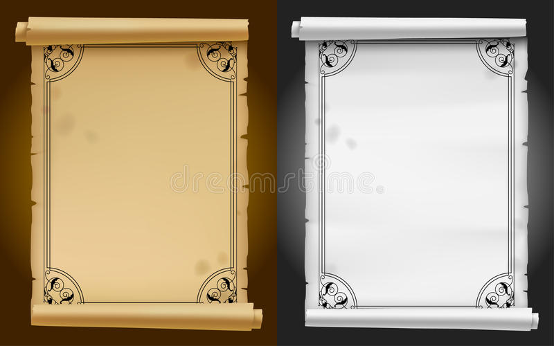 Old parchment and paper banners with black ornamental frame stock illustration