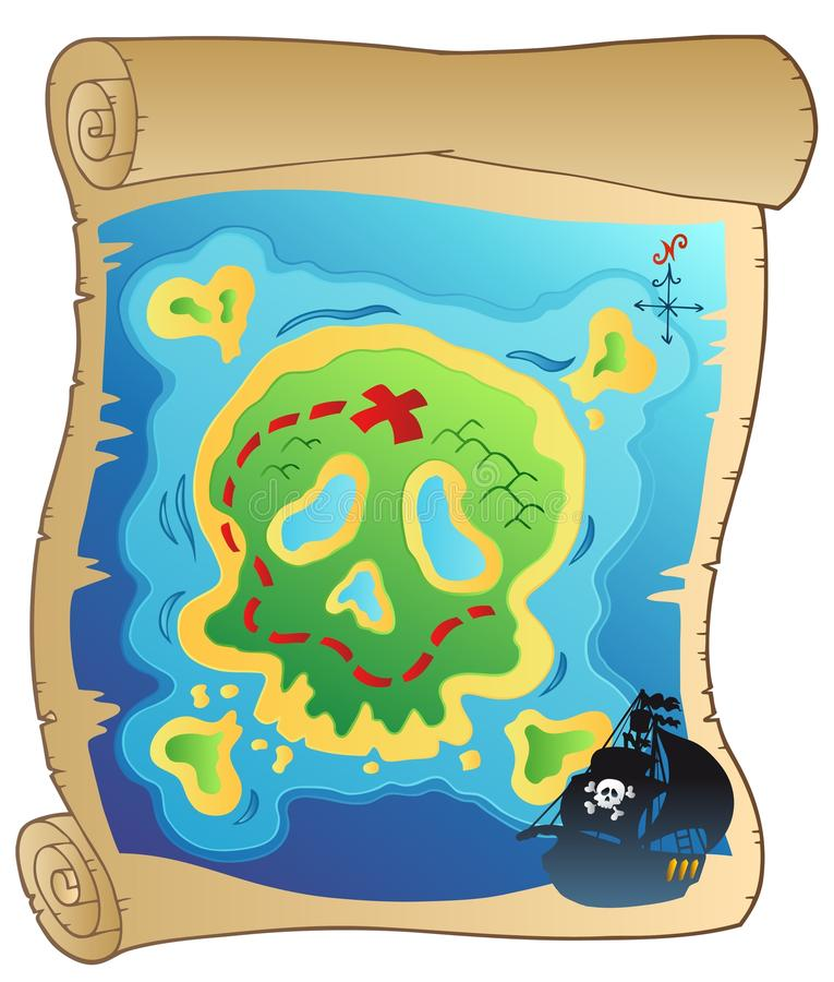Old parchment with pirate map royalty free illustration