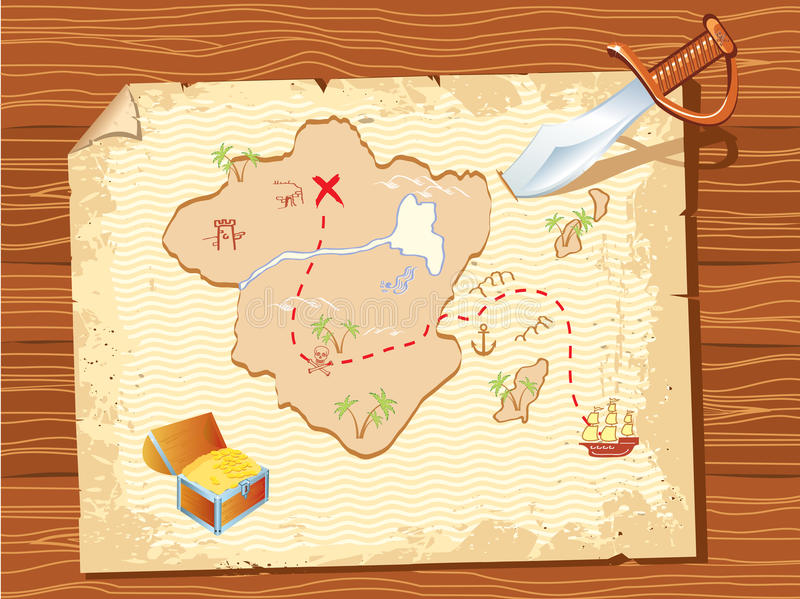 Old parchment with pirate map and dagger royalty free illustration