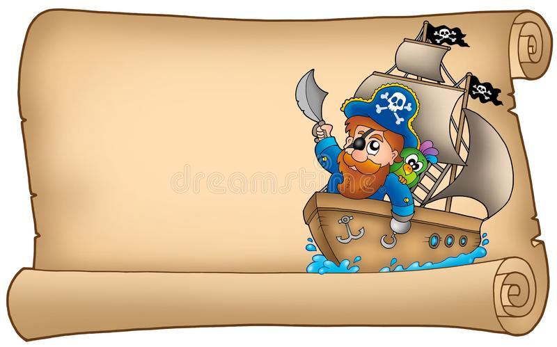 Old Parchment With Pirate Sailing On Ship Stock Images