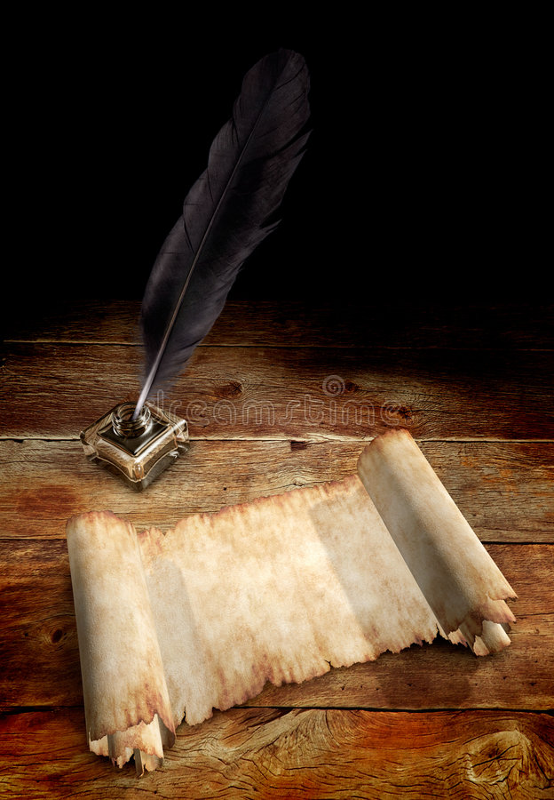 Old Parchment and a Quill stock images
