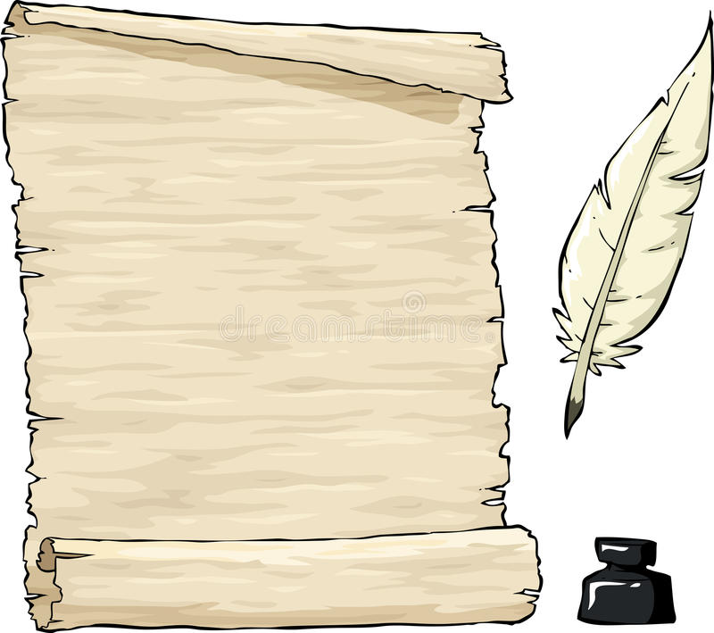 Old parchment. Parchment and quill with inkpot vector stock illustration