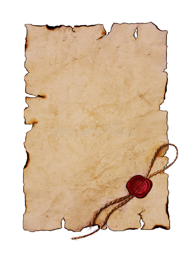 Old parchment with red sealing wax royalty free stock photo