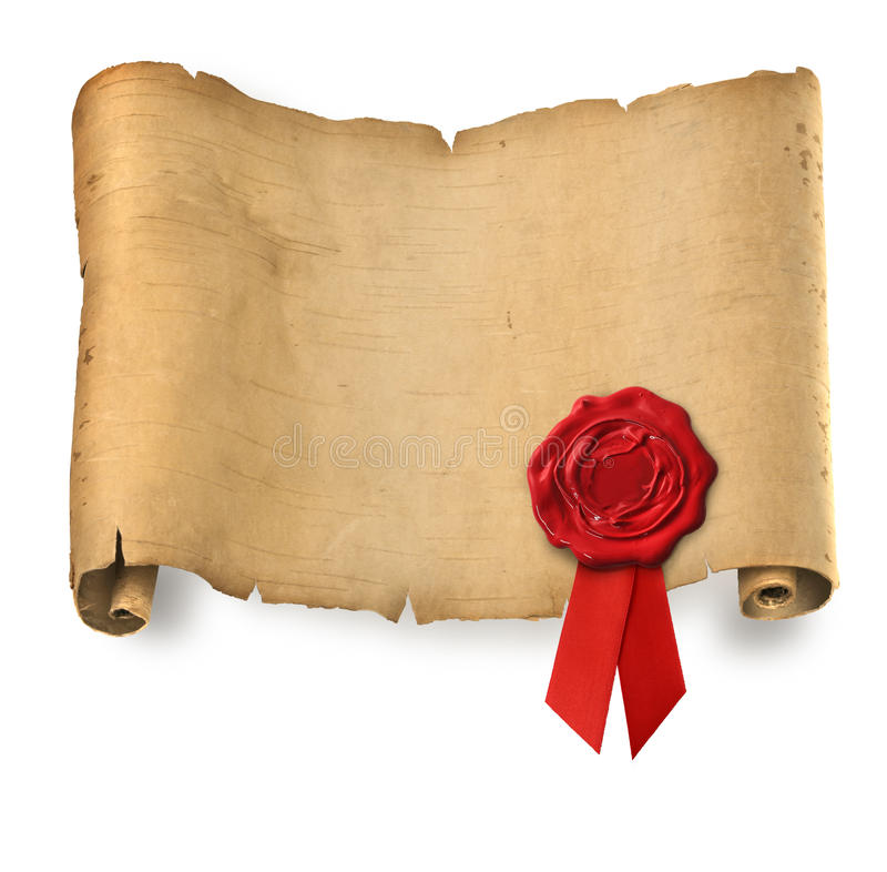 Old parchment with red wax seal royalty free stock photo