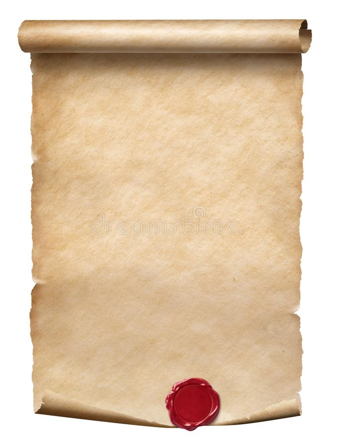 Old parchment scroll with wax seal isolated on white royalty free stock images