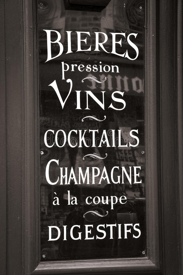 Old Parisian cafe window royalty free stock photos