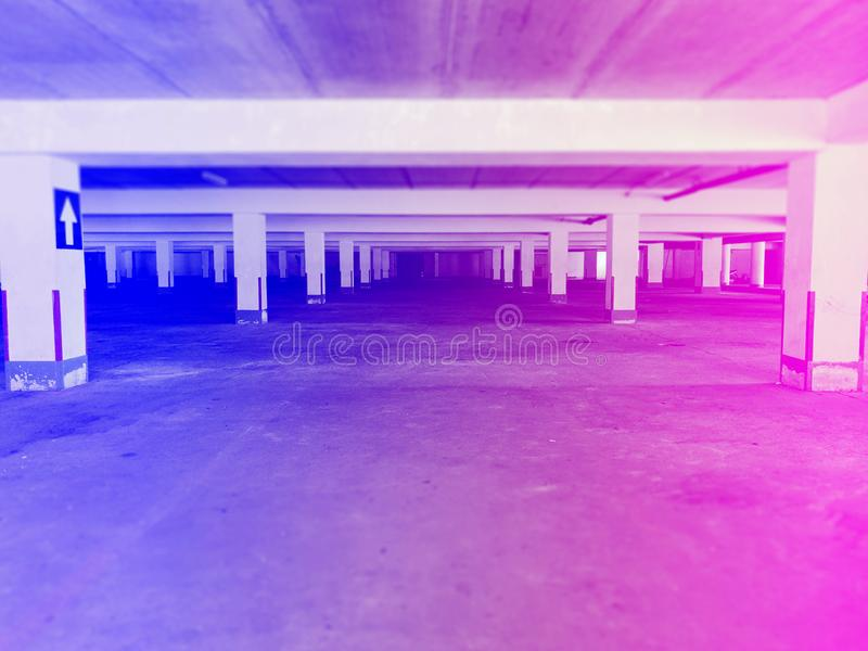 Old parking lot. Under the building royalty free stock images