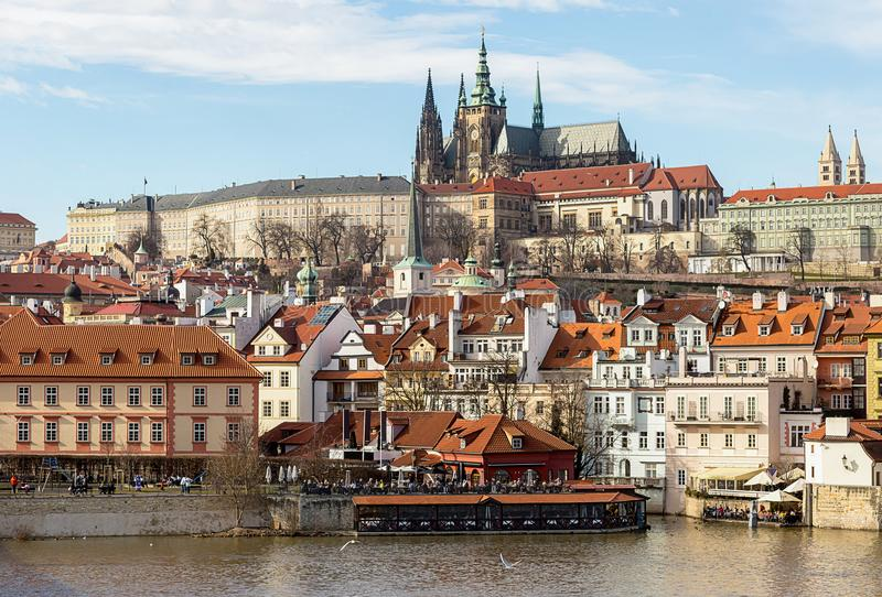 Old part of the city of Prague. The small country of the river royalty free stock photos