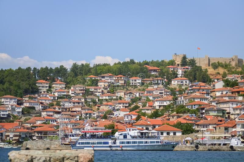 Old part of Ohrid city royalty free stock photo