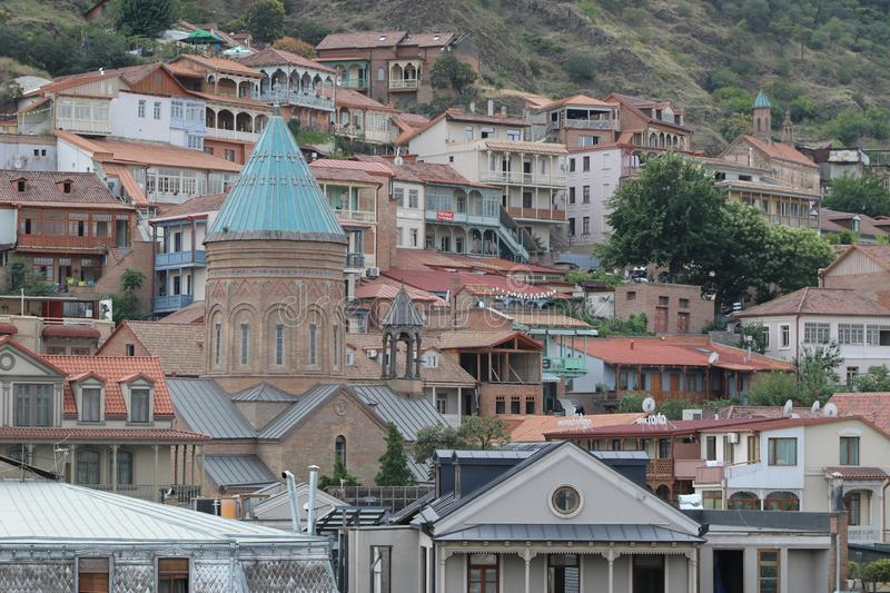 Old part of Tbilisi city with different buildings. In Georgia royalty free stock image