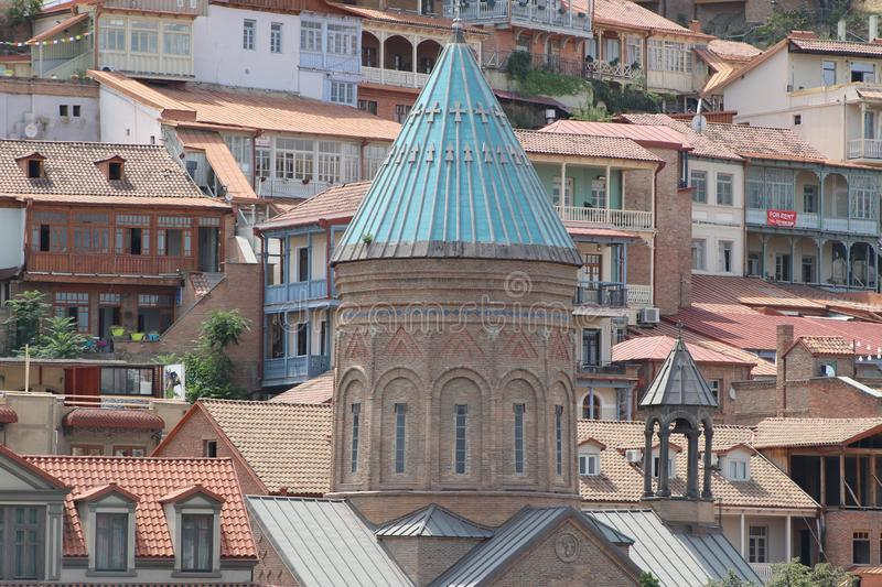 Old part of Tbilisi city with different buildings. In Georgia stock photo
