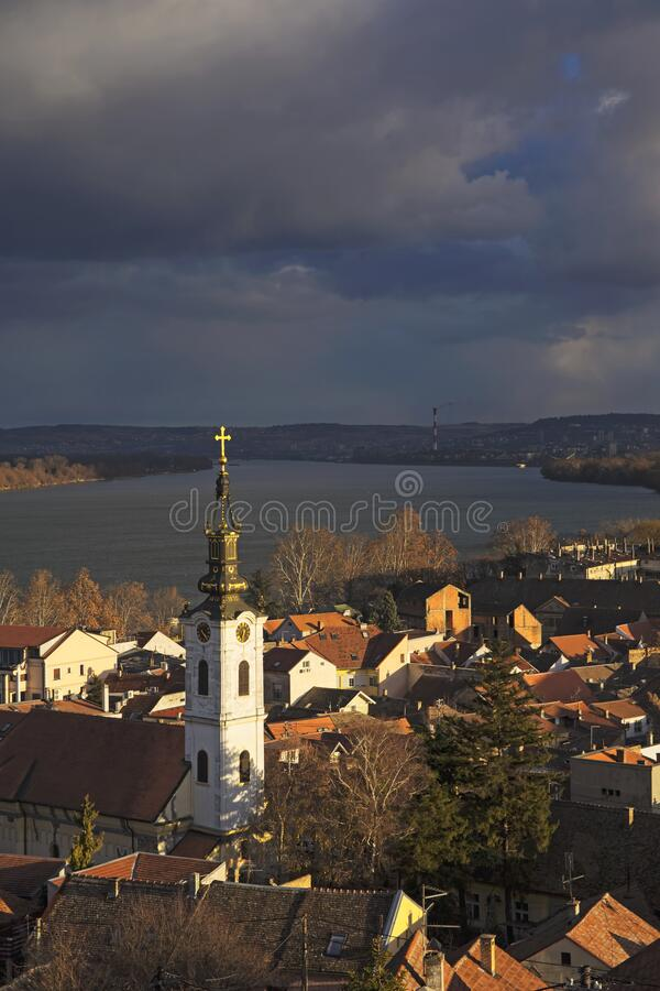 Old part of Zemun,Serbia. With Saint Nicholas church and Danube river stock image