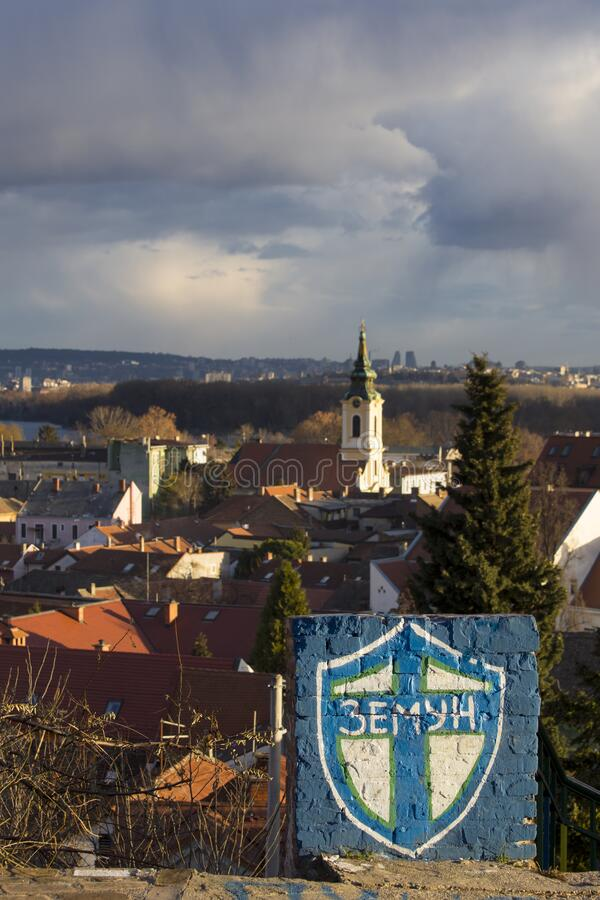 Old part of Zemun,Serbia. Old part of Zemun town in Serbia,panorama of the city with the coat of arms drawn on the wall royalty free stock photos