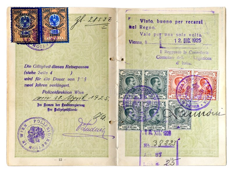 Old Passport. Old European passport dated 1925 stock images