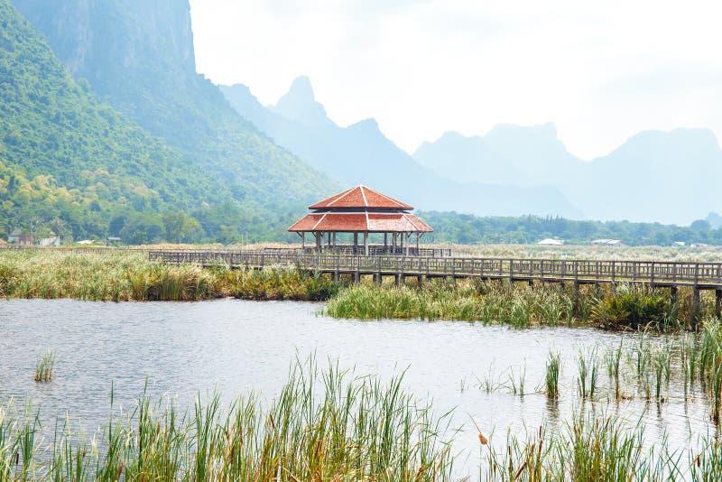 Old pavilion in lake of Khao Samroiyod National Park, Prachuap Khiri Khan, Thailand. Nature travel background stock image