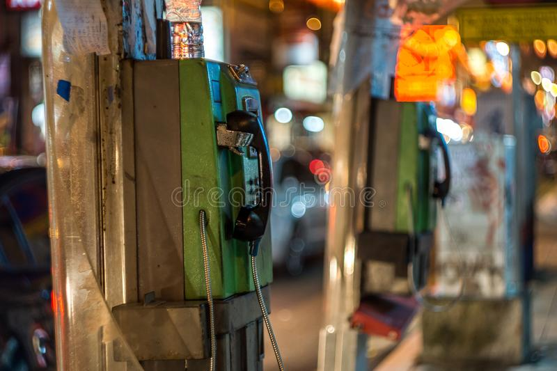 Old Payphone in China Town, Kuala Lumpur, Malaysia. This picture was taken in China Town, Kuala Lumpur, Malaysia stock photography