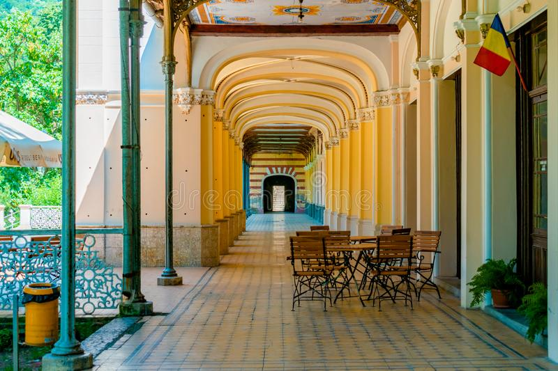 Old pedestrian corridor corridor in Herculane, Romania. Casinos, corridors, olds, architectures, abstracts, ceilings, castles, columns, decorations, cities stock photography