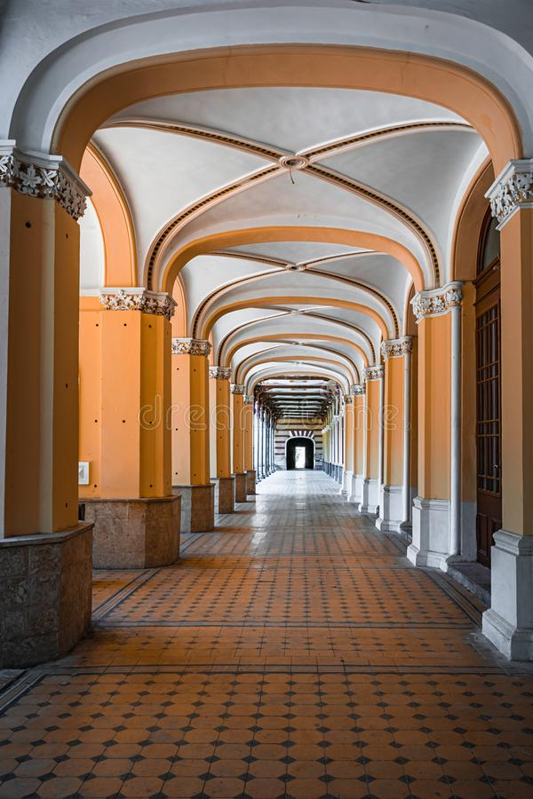 Old pedestrian corridor corridor in Herculane, Romania. Casinos, corridors, olds, architectures, abstracts, ceilings, castles, columns, decorations, cities stock images