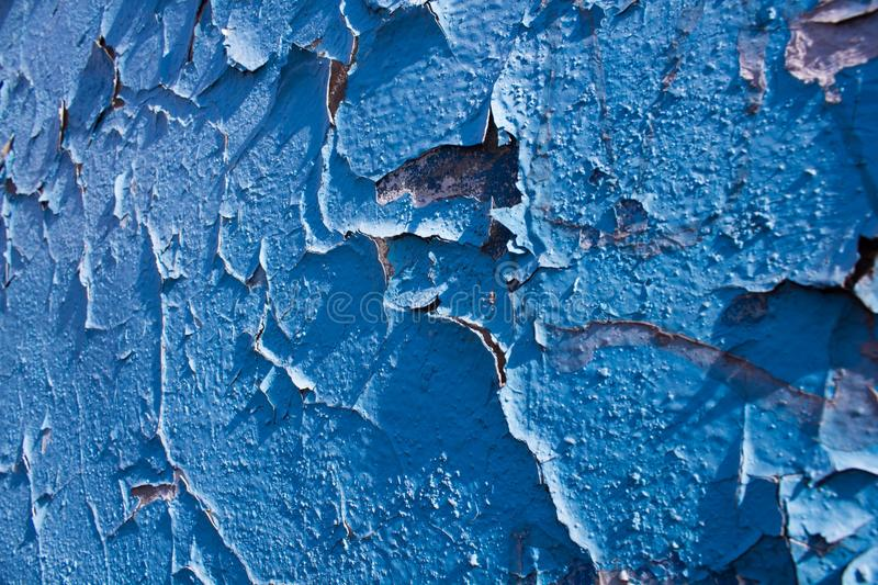 Old peeling blue paint stock images