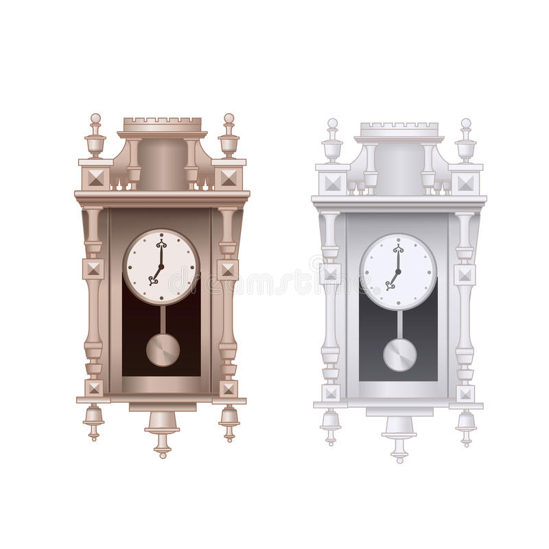 Old Pendulum Clock Vector Illustration With White