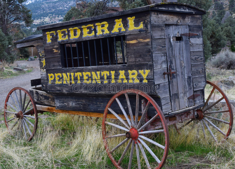 Old Penitentiary Wagon. In the pines stock image