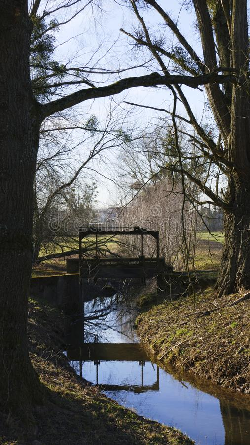 Old penstock, in the public park, with castle Favorite, Foerch stock images