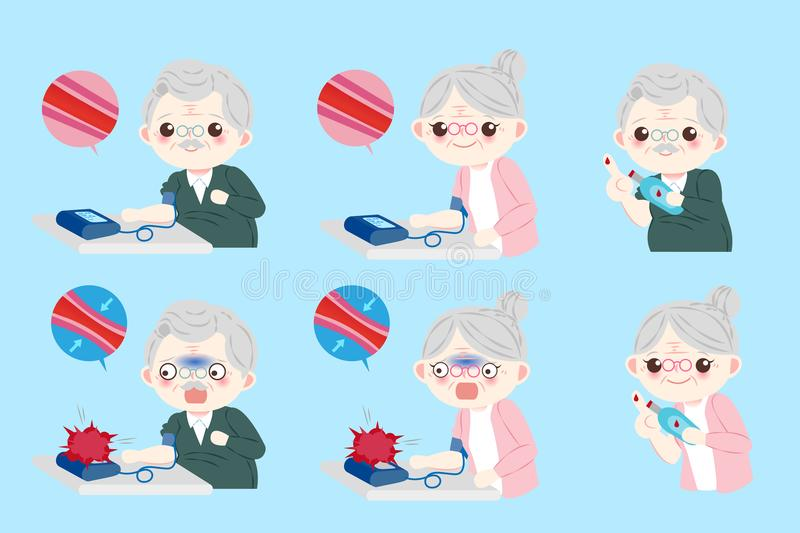 Old people with blood pressure royalty free illustration