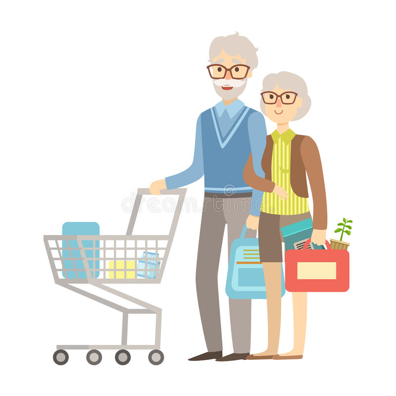 Old People Couple Shopping For Groceries In Supermarket, Illustration From Happy Loving Families Series royalty free illustration