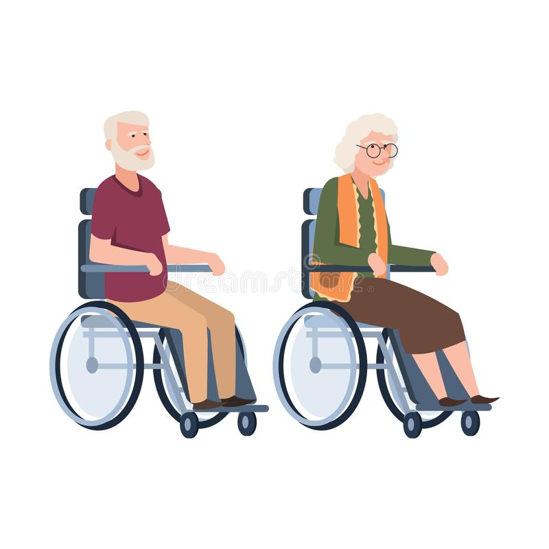 Old people disabled. Senior in a wheelchair. Couple of elderly handicapped person. Vector illustration grandpa and royalty free illustration