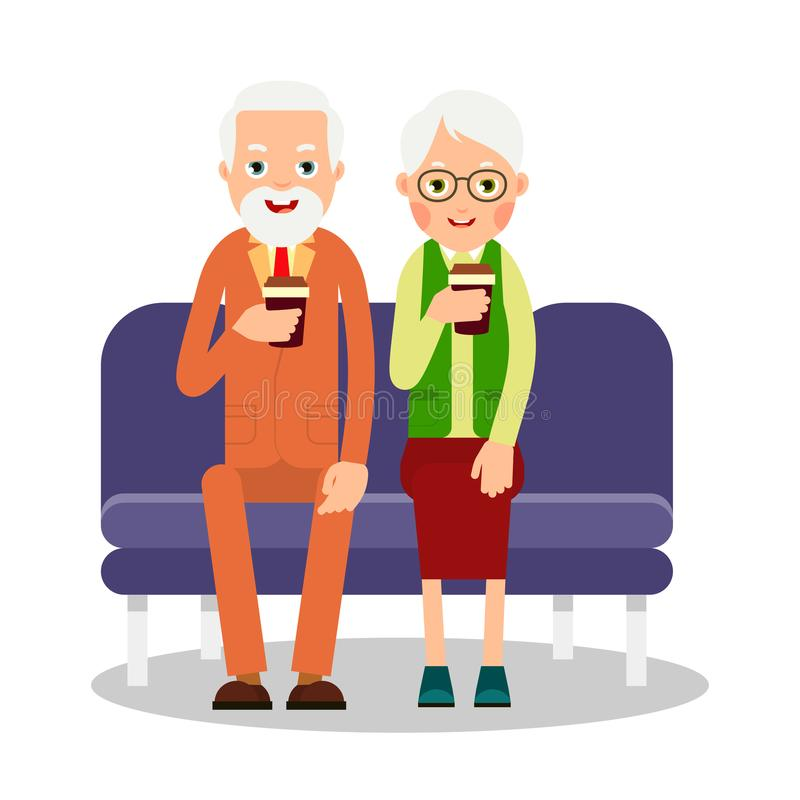 Old people drinking coffee. Elderly persons, man and woman sitting and holding coffee cups. Cartoon illustration isolated on whit vector illustration