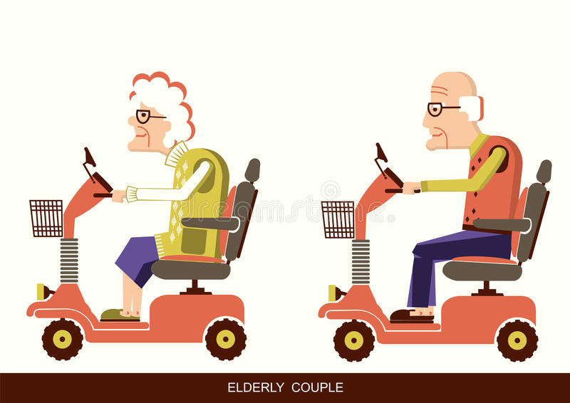 Old people drive by mobility scooter stock illustration