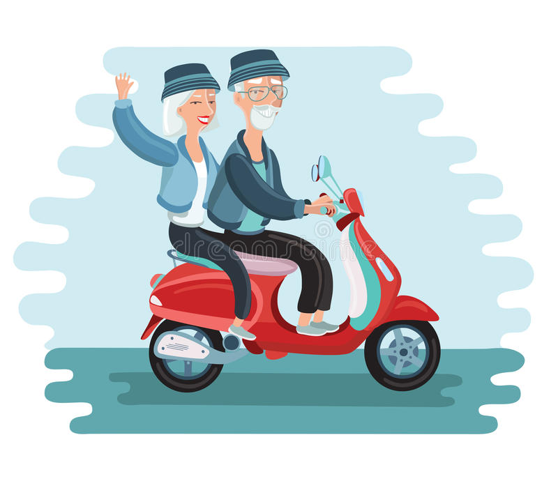 Old people driving scooter vector illustrationg vector illustration