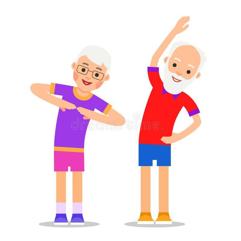 OLd people exercising. Elderly couple does gymnastics and sport. Active healthy workout aged men and women. Grandparents making morning exercises. Flat style stock illustration