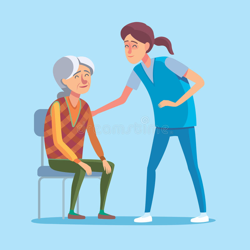 Old people flat. Flat design concept of healthcare and medical for older people. Cartoon illustration old woman and nurse or doctor. Medical help and patronage vector illustration