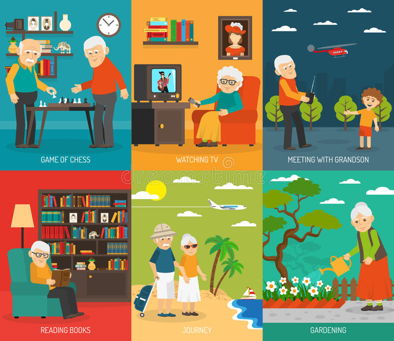 Old People 6 Flat icons Banner. Old aging people quality life 6 flat icons composition with traveling and hobbies abstract vector illustration stock illustration