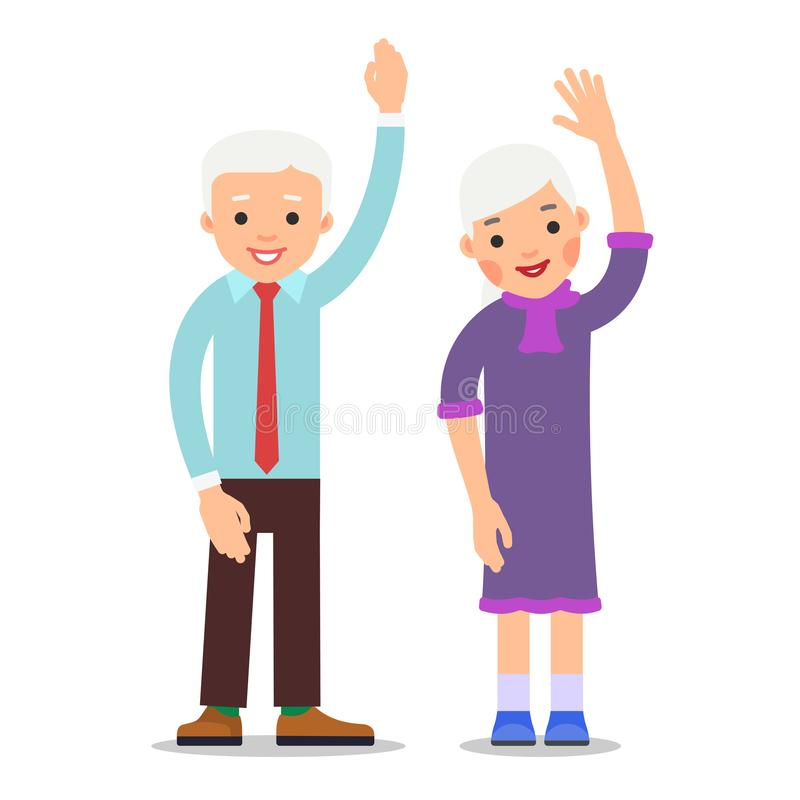 Old people with hand up. Active gesture senior couple. Grandfather and grandmother smiling. Healthy pensioner concept. Happy vector illustration