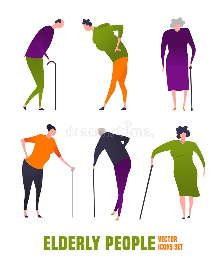 Old people icons. The old woman, man with a cane. Elderly people problem. Medicine, healthy lifestyle concept. Editable vector illustration in orange, green royalty free illustration