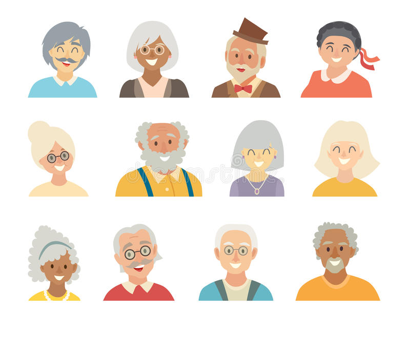 Old people icons vector set.Face of old people icons.Face of elder people icons cartoon style stock illustration