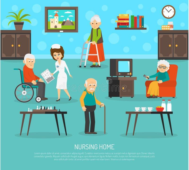 Old People Nursing Home Flat Poster stock illustration